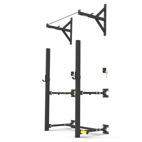 Wall Mounted Fold Up Squat Rack and Pull-Up Bar Kit