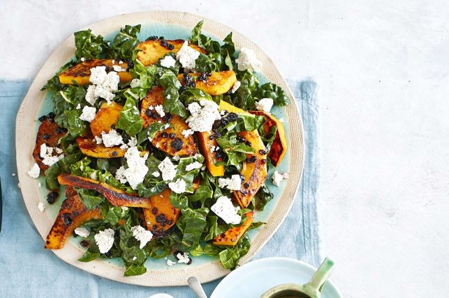 Warm honey-roasted pumpkin salad