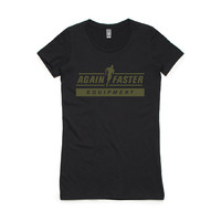 Again Faster T-Shirt - Running Man (Black-Army) Women