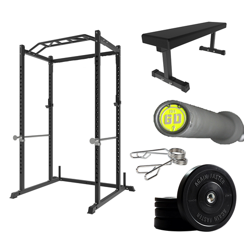 Home Power Rack | Flat Bench | GD Barbell | Plates